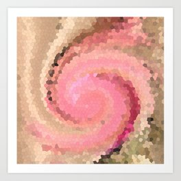 Multicolored mosaic in pink beige . Art Print