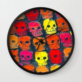 colorful  skulls ceramic vase Wall Clock