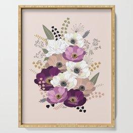 Anemones & Gardenia floral bouquet Serving Tray