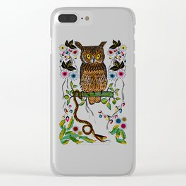 Vibrant Jungle Owl and Snake Clear iPhone Case