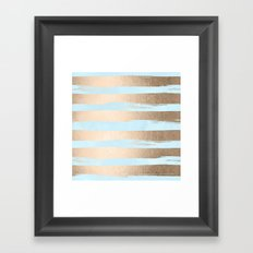 Paint Stripes Gold Tropical Ocean Sea Turquoise Framed Art Print