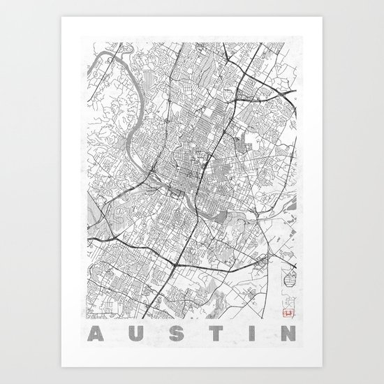 Line Art Prints : Austin map line art print by city posters society