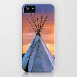Southwest Teepee Sunset With Bird iPhone Case