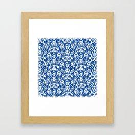 Blue Casbah Damask Framed Art Print