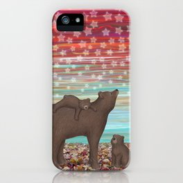 brown bears and stars iPhone Case