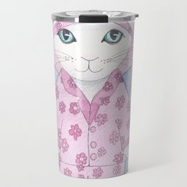Cat in Pink Pyjamas Travel Mug