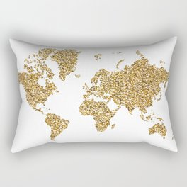 world map white gold Rectangular Pillow