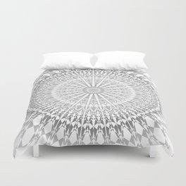Gray White Mandala Duvet Cover