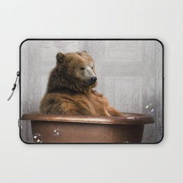 Bear with Rubber Ducky in Vintage Bathtub Laptop Sleeve
