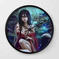 kitsune Wall Clocks featuring Kitsune by Kate  Fox