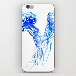 JellyFish, Blue Aquatic Artwork iPhone Skin