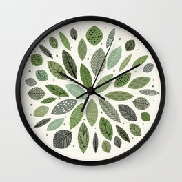 Mid-Century Green Leaves Wall Clock