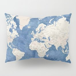 Light brown and blue watercolor detailed world map Pillow Sham