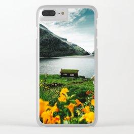 cottage in saksun faroe islands Clear iPhone Case