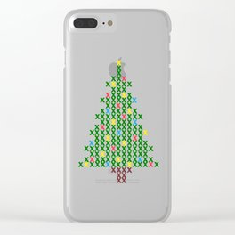 Cross Stitch Christmas Tree Clear iPhone Case