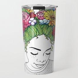Flowered Hair Girl Travel Mug