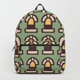 New York Windows Pattern 261 Brown Green and Yellow Backpack