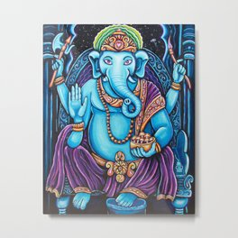 Blue Ganesha Metal Print