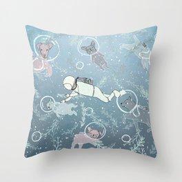Scuba Dogs Throw Pillow