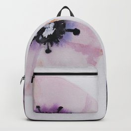 Soft pink, abstract anemone, watercolor, nature, plant, pink pattern, botanical Backpack