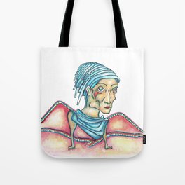 Blue Hat Woman Tote Bag