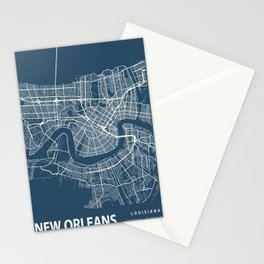 New Orleans Blueprint Street Map, New Orleans Colour Map Prints Stationery Cards