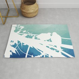 Love in nature - Two doves with blue watercolour background Rug