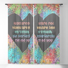 Roses are Red Smash the Patriarchy Valentines Heart Rainbow Sheer Curtain