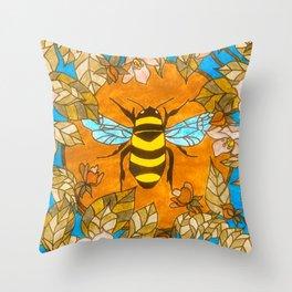 Bumblebee In Wild Rose Wreath Throw Pillow