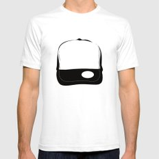No Logo Cap White SMALL Mens Fitted Tee