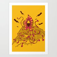 kraken Art Prints featuring Kraken! by Popnyville