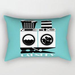 Retro Laundry Sign - Turquoise, Black and White Rectangular Pillow
