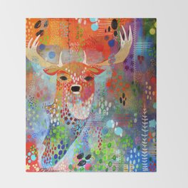 The Deer in the Thicket Throw Blanket