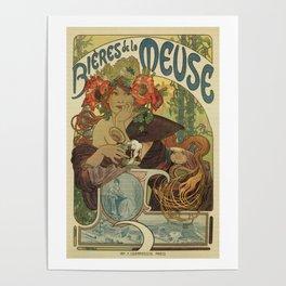 Alfons Mucha art nouveau beer ad Poster