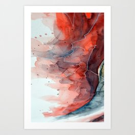 Watercolor red & blue TEXTURE Art Print