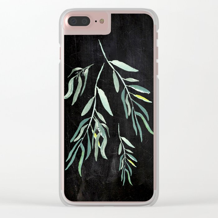 Eucalyptus Branches On Chalkboard II Clear iPhone Case