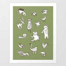 Animalia autumn Art Print