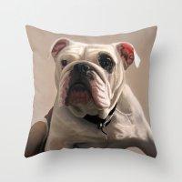 british Throw Pillows featuring British Bulldog by Mel Hampson