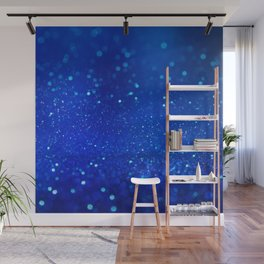 Abstract blue bokeh light background Wall Mural