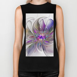 Energetic, Abstract And Colorful Fractal Art Flower Biker Tank