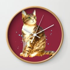 Cute Tabby Cat Wall Clock