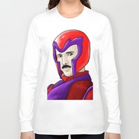 magneto Long Sleeve T-shirts featuring Magneto Tesla by Aghko