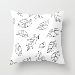 Leaf Drawings Throw Pillow