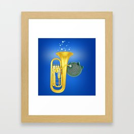 Puffer Fish Playing Tuba Framed Art Print