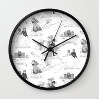 pride and prejudice Wall Clocks featuring Pride and Prejudice Toile by Aimee Steinberger