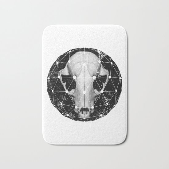 geometric raccoon skull Bath Mat