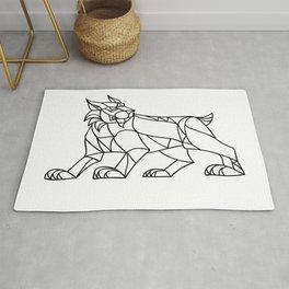 Lynx Prowling Black and White Mosaic Rug