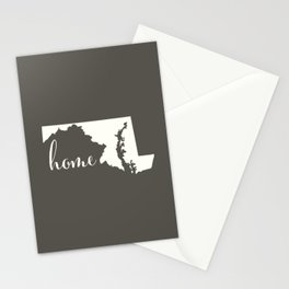 Maryland is Home - White on Charcoal Stationery Cards