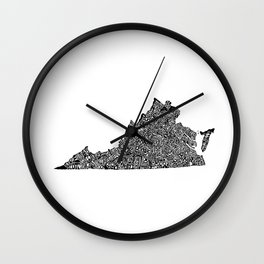 Typographic Virginia Wall Clock