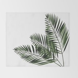 Tropical Exotic Palm Leaves I Throw Blanket